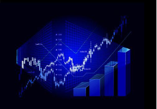 Stock market graphs background on black. Vector illustration