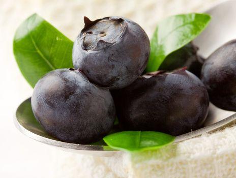 Blueberries on spoon