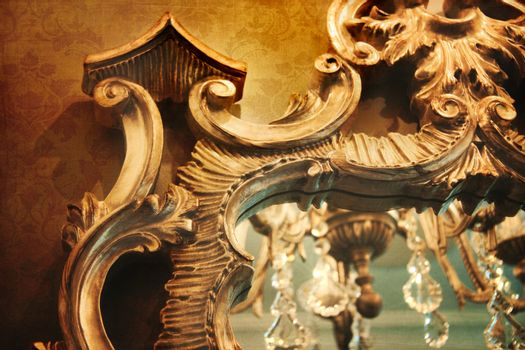 Ornate mirror with reflection and vintage background