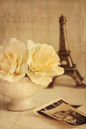 Antique roses with old photos