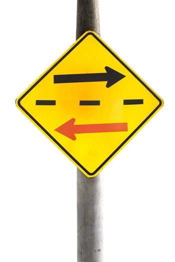 Signs, traffic sign on the isolated area of the Yellow Label.