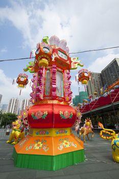 Mid-autumn festival lanterns decorate in Wong Tai Sin