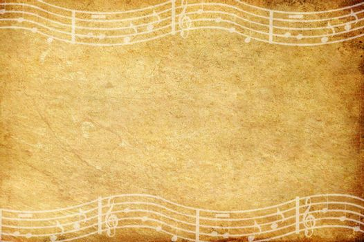 old grunge paper and music note with space