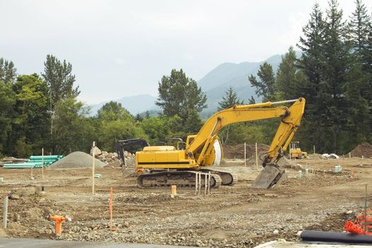 A front-end loader rests on the weekend at a Washington construction site.