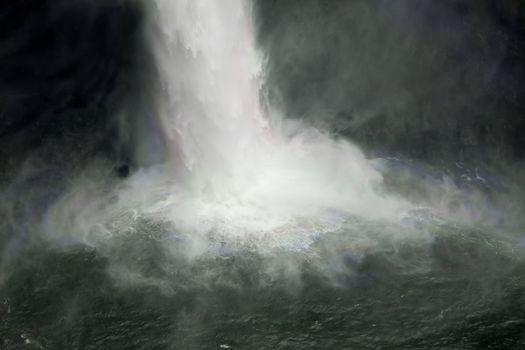 The bottom of the cascade of Snoqualmie Falls near Seattle, Washington.