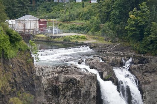 The Snoqualmie Falls are a powerful hydroelectric plant as well as a beautiful spot.