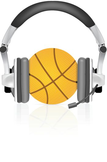 Basketball ball with headphones on white background