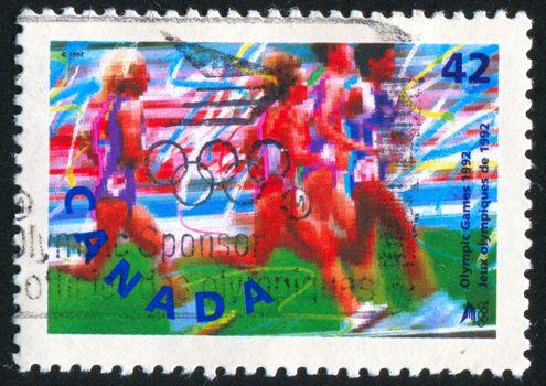 CANADA - CIRCA 1992: stamp printed by Canada, shows runner, circa 1992