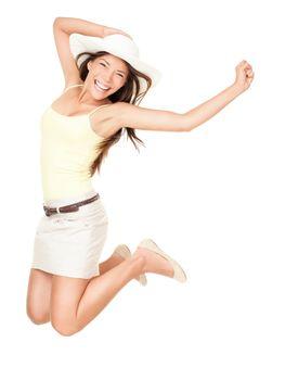 Summer woman jumping