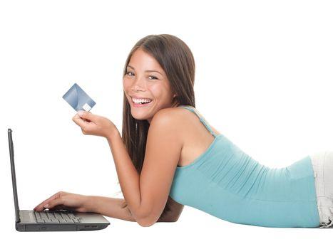 Shopping on internet woman