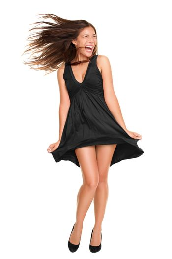 woman in black dress playful funny