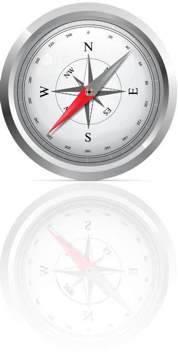 Glossy Compass with windrose. Vector Illustration on white background