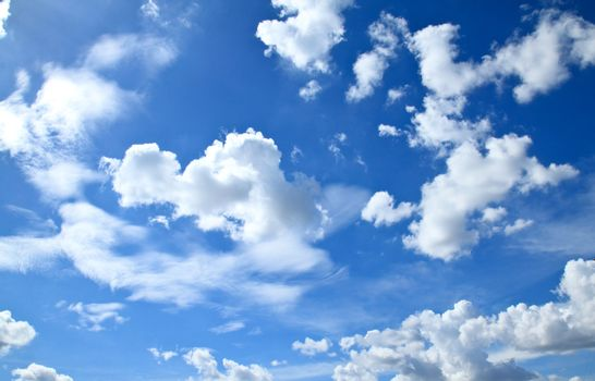 Beautiful clouds and clear blue sky