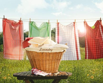 Cotton towels drying on the clothesline