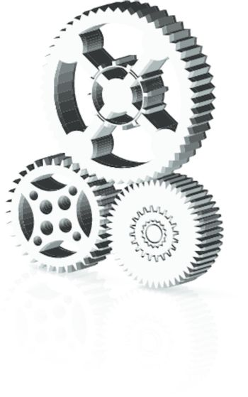 Gears and cogwheels as a machinery concept on white background