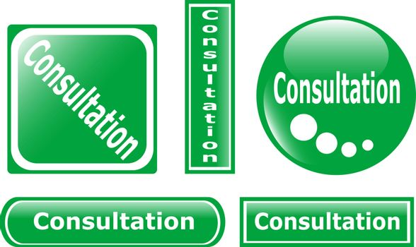 green Button Consultation glossy set isolated on white