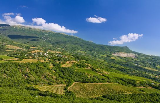mountain landscape, top view