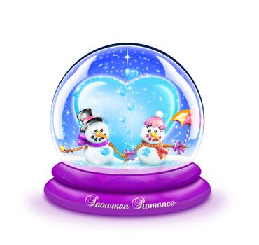 A snow globe with two snowmen in love.