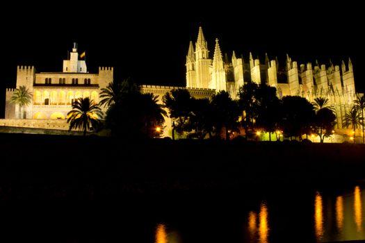 cathedral at night in La Palma, Mallorca