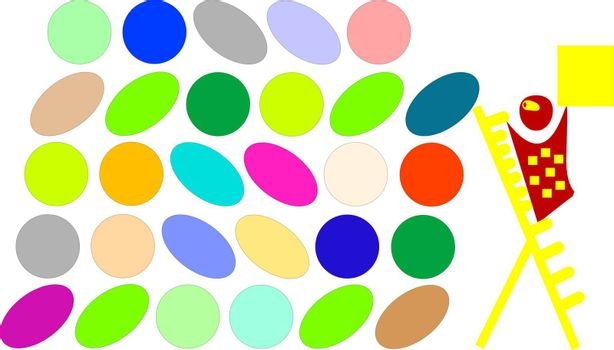 cartoon with yellow cub and more colorful circle and oval