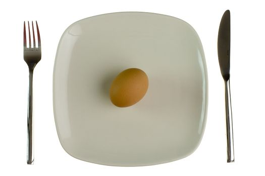 Plate with one egg. Isolated on white.