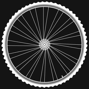 white Bike wheels isolated on black background vector
