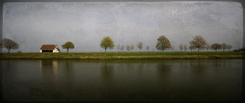 Countryside. Old-fashioned artistic landscape