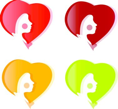 part face beauty Girl in colorful vector Hearts