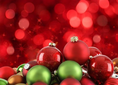 Christmas ornaments on abstract light background