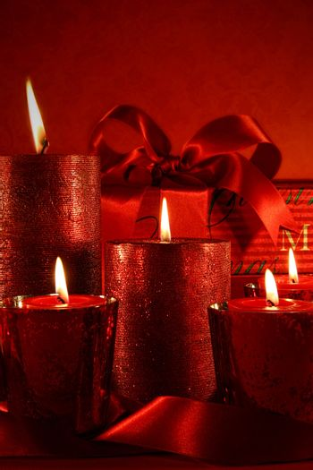 Christmas candles on vintage background