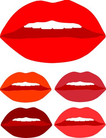 Set of colorful lips with white teeth