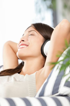 Headphones woman listening to music
