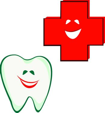 tooth smile with smile red cross - vector