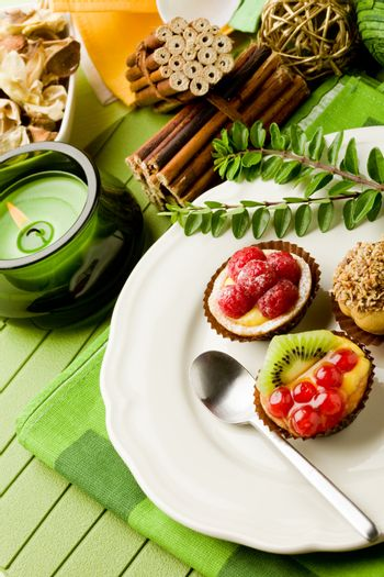Pastries with fruits