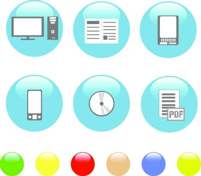 set of Home electronics and equipment shiny blue icons. vector