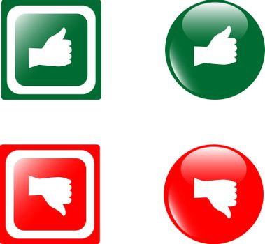 set of Thumbs Up & Down glossy buttons. vector