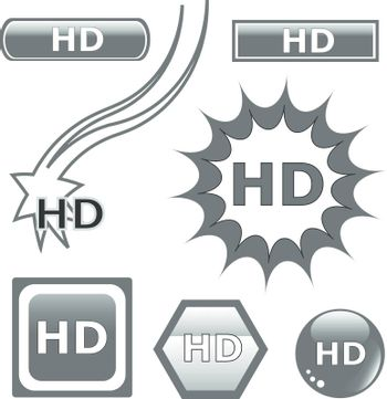 HD glossy web button set black icons isolated. vector