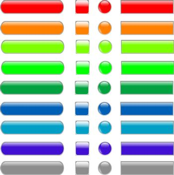 colored empty web button set of different form. vector