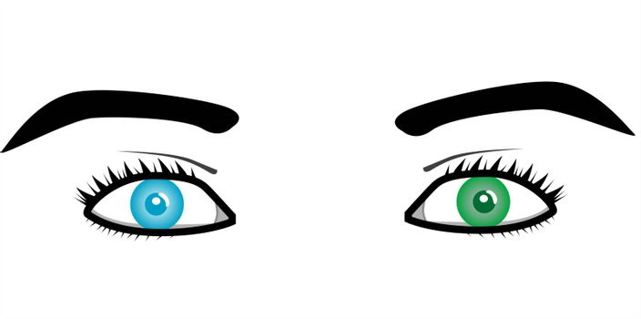Beautiful pairs of eyes in different color Vector