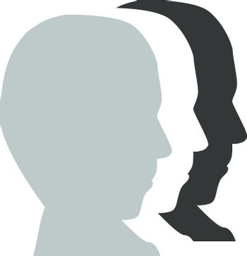 profile silhouette face man isololated on white