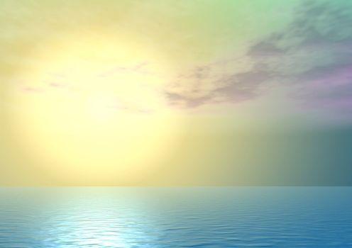 Yellow majestic sunset