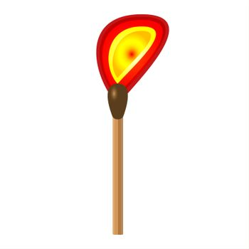 Burning match stick on a white background