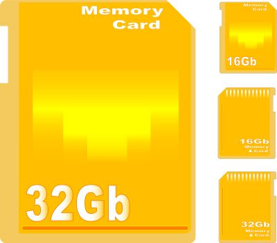 set of golden memory card isolated on white background