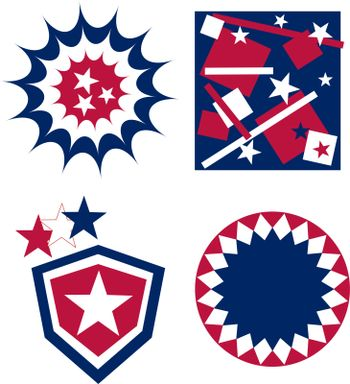 4th of july independence day badge in american flags