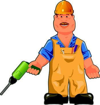 illustration, cheerful worker in overalls with a drill