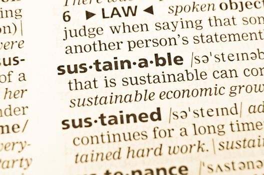 The word sustainable  in the old dictionary