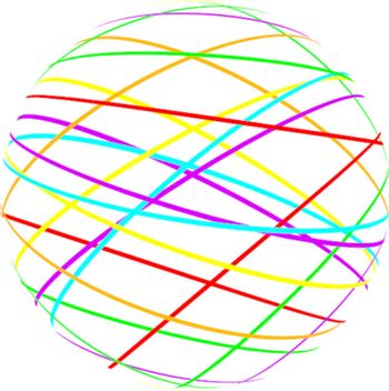 abstract sphere from color lines on white background
