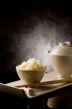 Rice with chopsticks