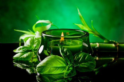 Candle with basil flavour