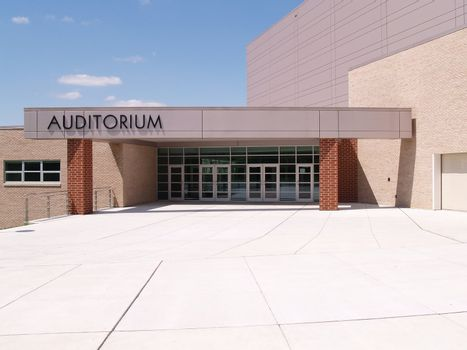 entrance to a school auditorium